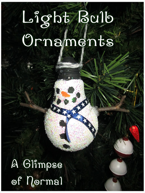 This cute snowman ornament is created using a light bulb.  It is perfect for making with kids.  Check it out on A Glimpse of Normal.