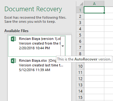 Gambar excel 2016 auto recovery