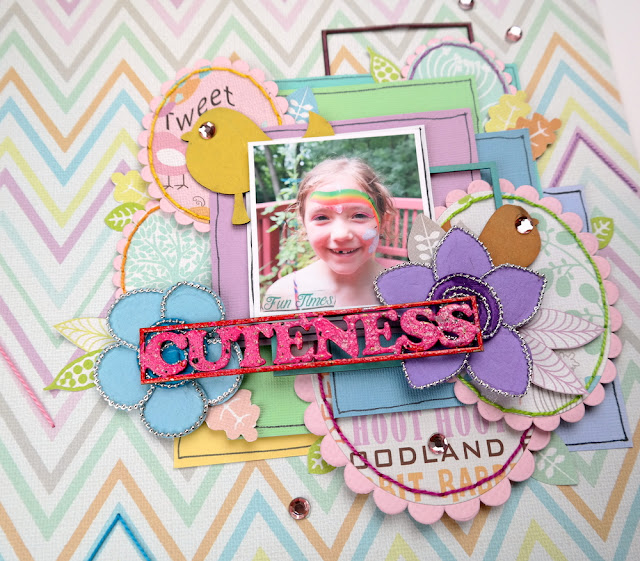 Hand-Stitched Die-Cut Frames on a Whimsical Scrapbook Layout by Dana Tatar