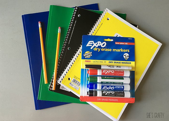 school supplies, expo markers, notebook, pencils, folders