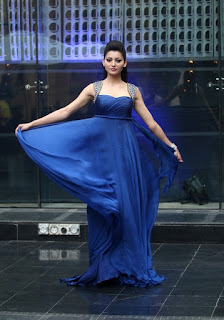 Urvashi Rautela in blue gown at Lakme Fashion Week