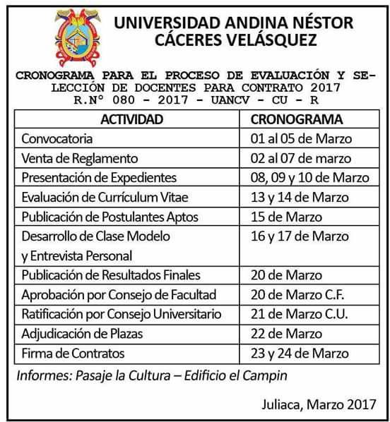 convocatoria concurso para docentes por contrato 2017
