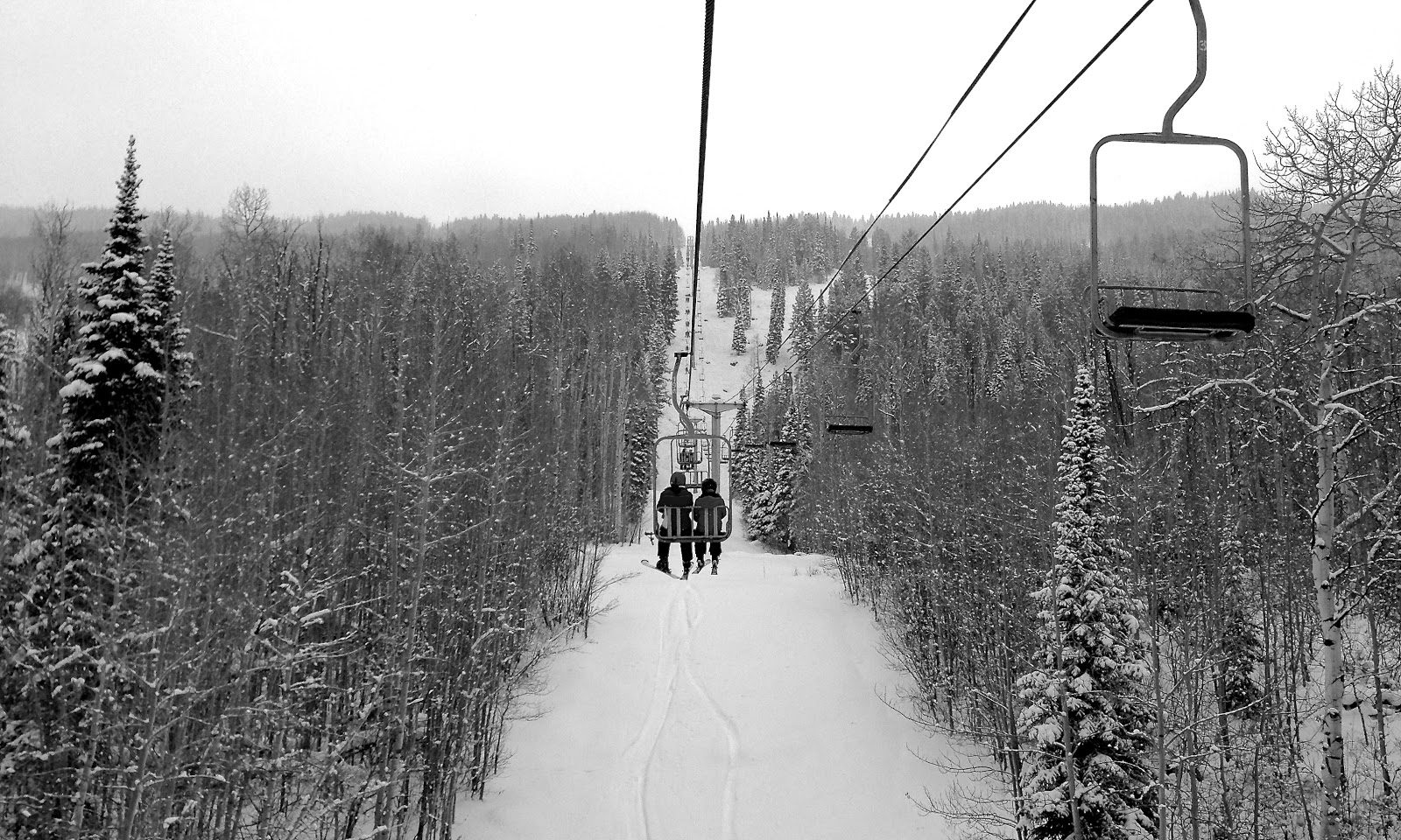 On the ski lift