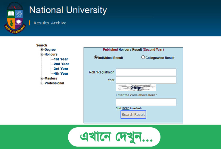 Honours 2nd Year Exam Result 2017 NU EDU BD Results