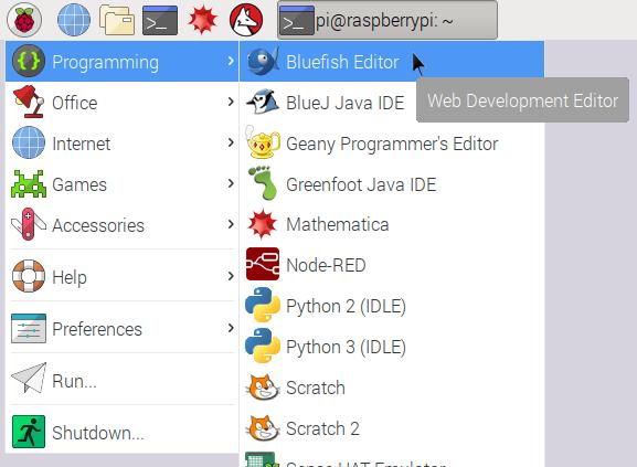 Bluefish Editor Raspberry Pi