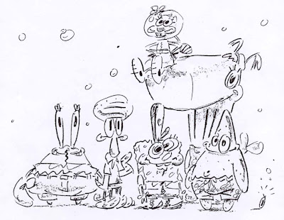 Stephen Hillenburg development sketches from SpongeBob Squarepants