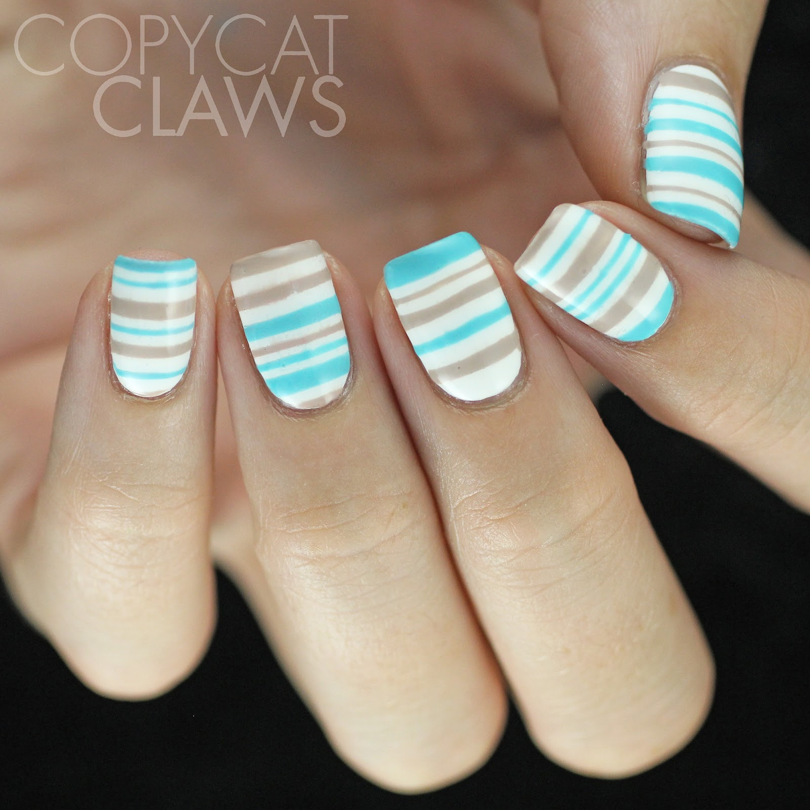 Copycat Claws Blue Color Block Nail Art: Copycat Claws: Uneven Striped Summer Nails