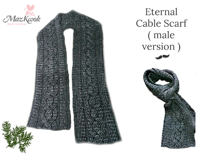 crochet cable scarf for men