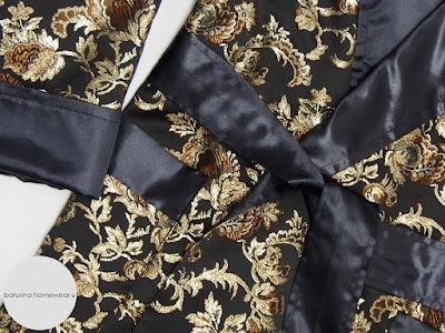 black silk dressing gown gold floral smoking jacket robe mens