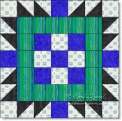 Checkerboard Friends quilt block image © W. Russell, patchworksquare.com