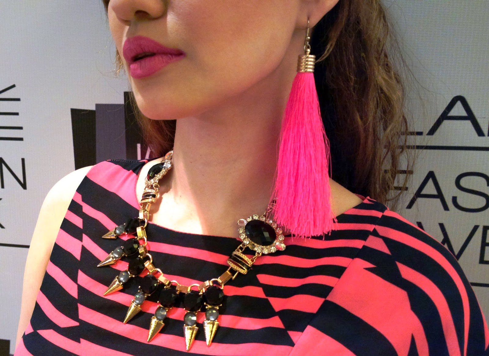 Black & Gold Spike & Stone Necklace and Pink Tassel Earrings