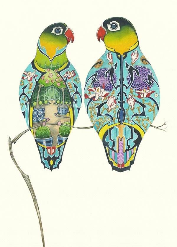 13-Lovebirds-with-Garden-and-Flowers-Daniel-Mackie-Flora-and-Fauna-Watercolour-illustrations-www-designstack-co