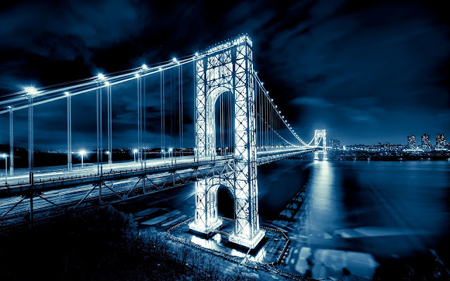 George Washington Bridge Wonderful Night View Over Hudson River USA HD Desktop Wallpaper