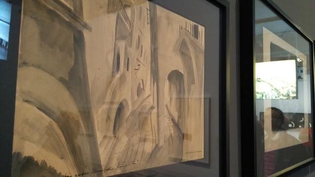 Fragmentos del story-board de una película del expresionismo alemán: El gabinete del doctor Caligari (1920), vista en la exposición Cine y Arte