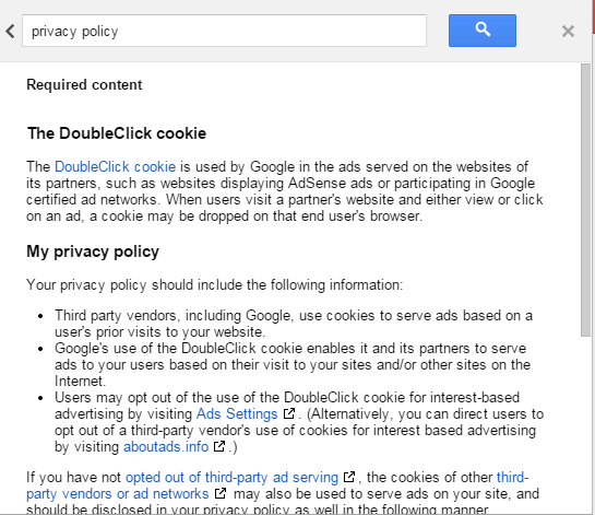 Adsense Privacy Policy Content