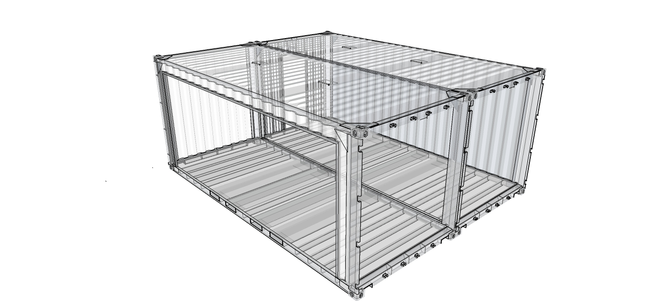 Garage carport 2 voitures en containers for Container bois occasion