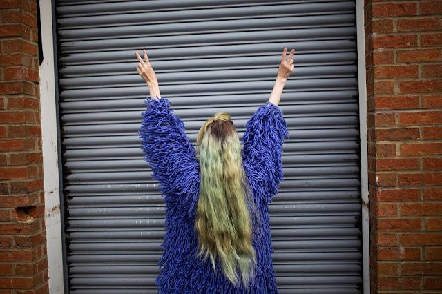 Purple Shaggy Cardigan of Dreams - OOTD June