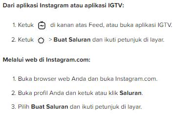 cara membuat saluran IGTV