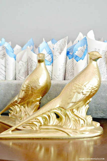 Thrifty Decor: Gold Spray Painted Ceramic Birds - One Mile Home Style