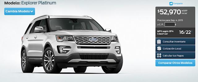 Precios de la nueva Ford Explorer Platinum 2016