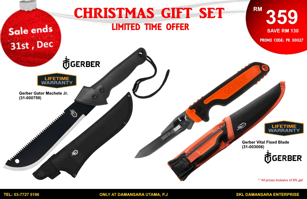 Christmas Promotion!!Gerber Gator Jr & Vital Fixed Blade @ RM 359 Only.
