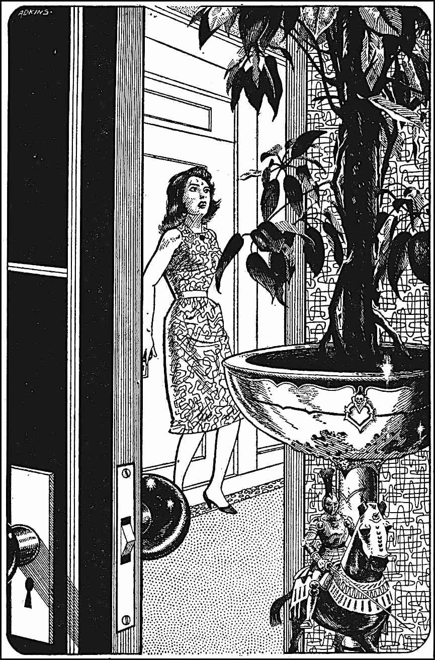 a Dan Adkins story illustration of an anxious woman