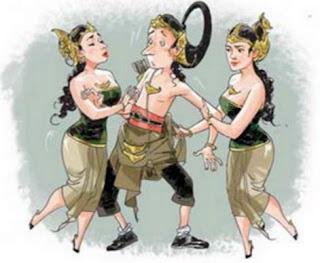Gambar Karikatur Wayang Lucu Cerita Pewayangan Arjuna dan Wanita Cantik