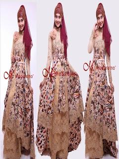 Model Long Dress Batik Kombinasi Satin