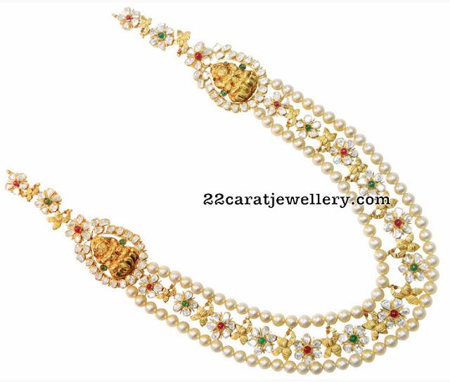 Flat Diamonds Floral Lakshmi Haram