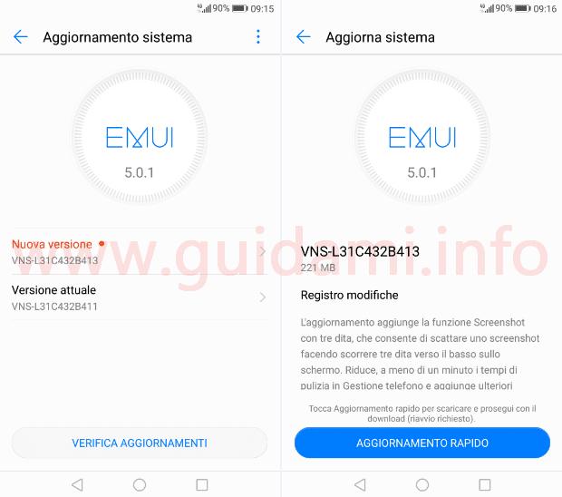 Huawei P9 Lite schermata aggiornamento di sistema