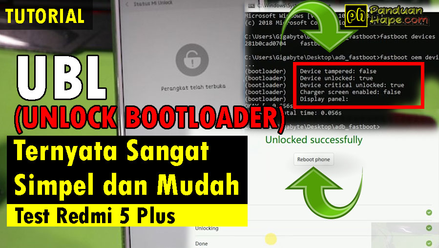 Tutorial Unlock Bootloader (UBL) Test Xiaomi Redmi 5 Plus +