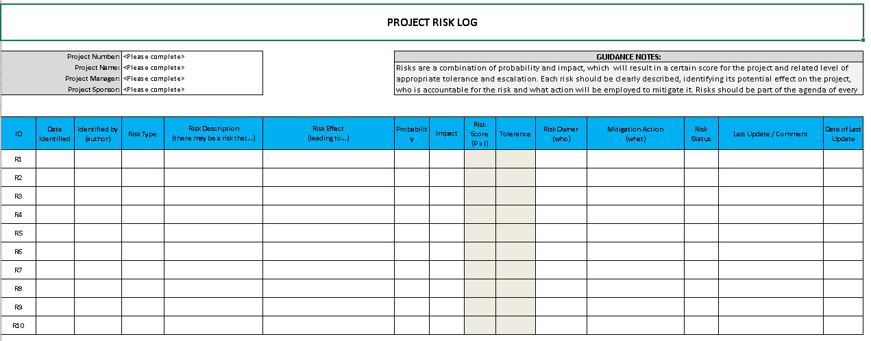 project raid log template - raid log template excel download free project management