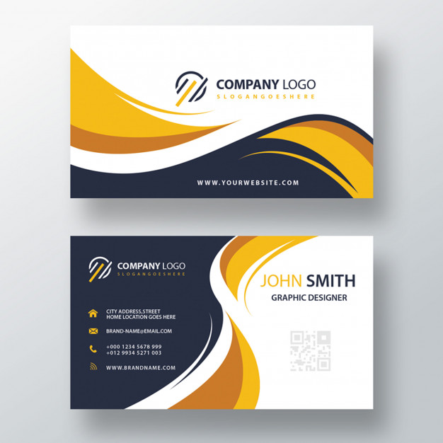 business cards Beautiful modern yellow business card printing Free Psd