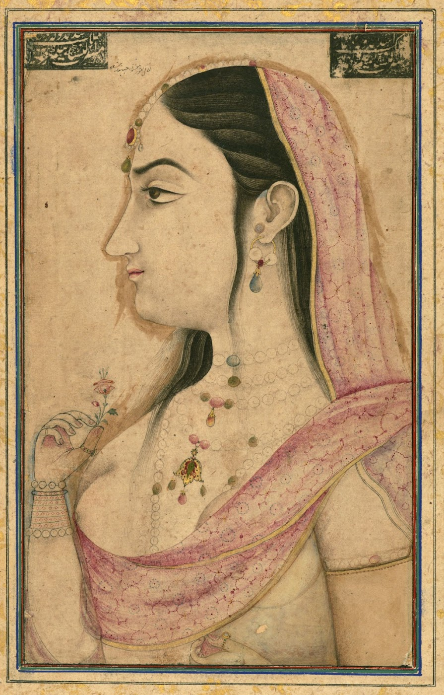 Portrait of Lal Kunwar, the beloved of the eighth Mughal Emperor Jahandār Shāh -  Mughal Painting Circa 18th century