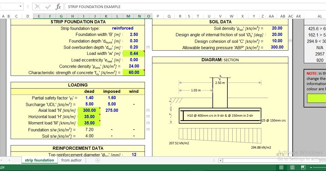 Download Reinforced Concrete Strip Footing Design Excel