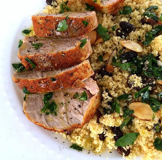Slow Cooker Mediterranean Pork Tenderloin with Couscous