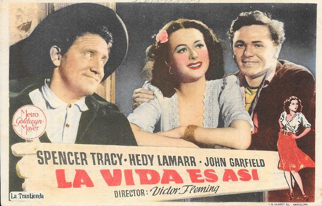 La Vida es Así - Programa de Mano - Spencer Tracy - Hedy Lamarr - John Garfield