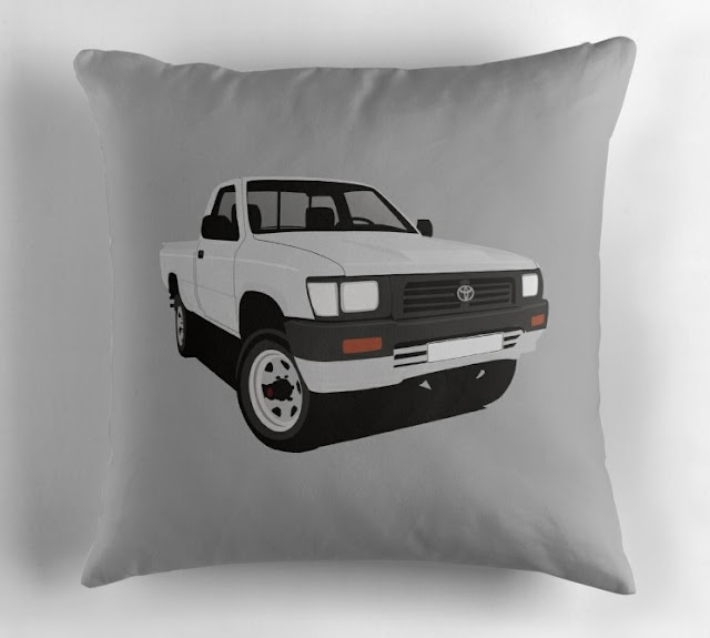 toyota hilux pickup gray pillow