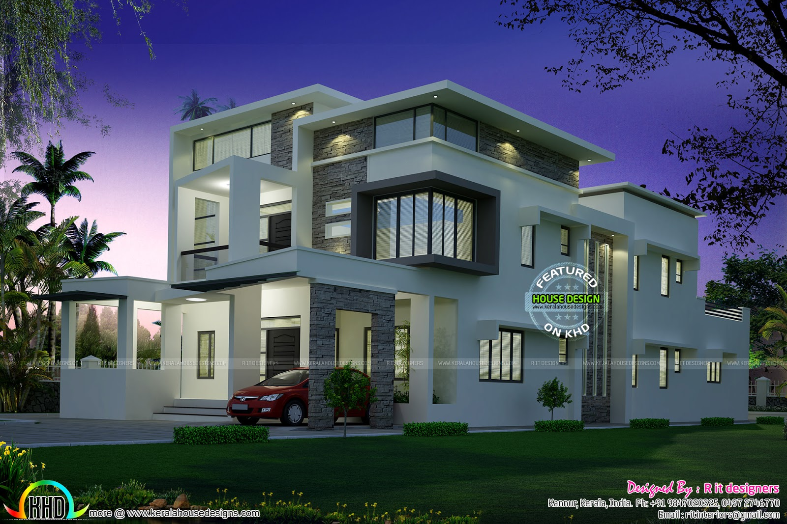 Flat roof contemporary night view kerala home design and for Modern new homes