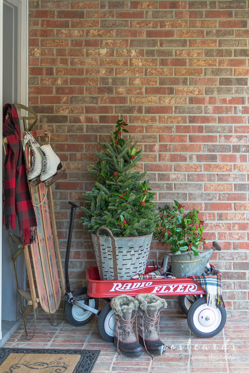 Cozy, welcoming, farmhouse Christmas front porch