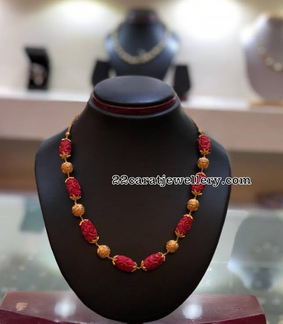 Red Coral Beads Gold Balls Necklace