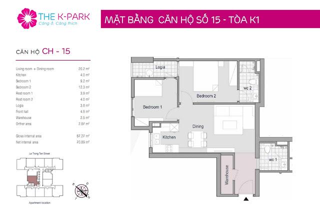 Thiết kế căn hộ 15 - Dt 67m2 - 02 phòng ngủ
