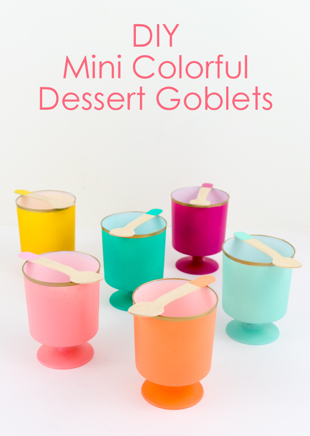 DIY mini colorful Dessert goblets or cups for party - colorful tipped spoons - mousse cups - ice cream cups - oh joy! for target mini cups