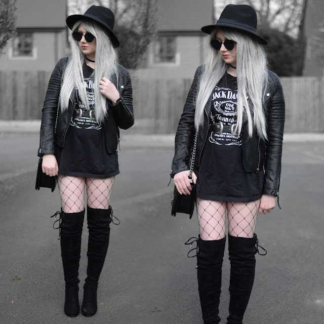 Sammi Jackson - Primark Black Fedora, Zaful Sunglasses, Topshop Biker Jacket, Jack Daniel's Oversized Tee, ASOS Double Buckled Belt, Oasap Quilted Bag, Choies Fishnets, Boohoo Over the Knee Boots
