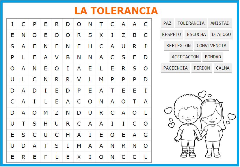 Fichas De Primaria Sopa De Letras De La Tolerancia