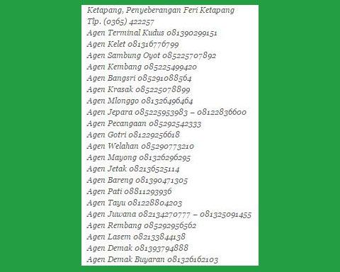 Nomor telepon Agen Bus Surya Bali di Jawa