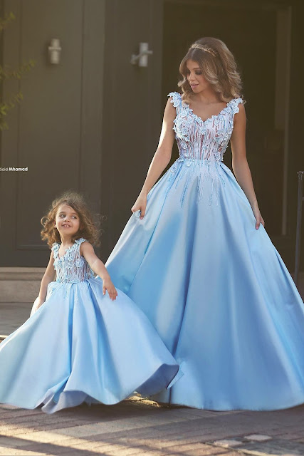 Newest Flowers Straps A-line Mother And Daughter Prom Dress 2019 Ball Gown