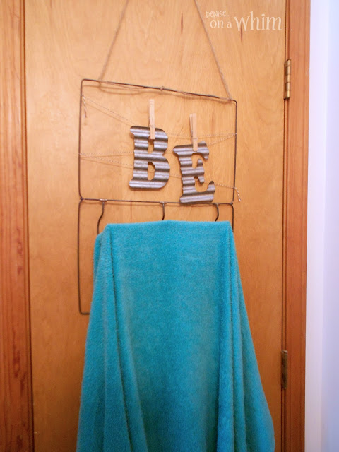 Garment Hanger Bag Repurpsoed as Towel Bar | Vintage Farmhouse Bathroom Makeover | Denise on a Whim