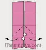 Bước 5: Mở hai lớp giấy trên cùng ra, kéo và gấp ra ngoài.