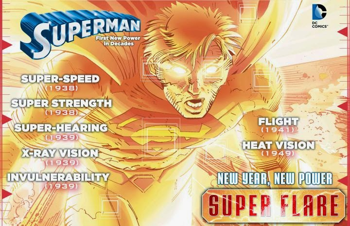 superman new power superman nouveau pouvoir, superman nouveau costume, superman#38, super flare, geaoff johns, john romita jr, dc comics new 52